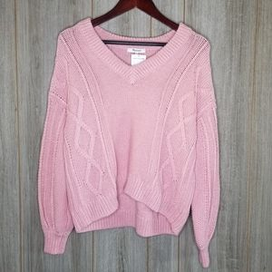 NWT Madewell Augustus Cableknit V-Neck Sweater